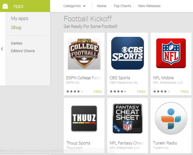 Google Play's Top Football apps